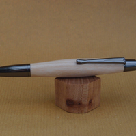 Hand turned click style pen biro ballpoint - Ash with Gun Metal fittings