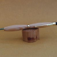 Hand turned twist style pen biro ballpoint with stylus- Ash with Gold fittings