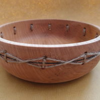 Rustic wooden fruit bowl with twine decoration. Food safe finish