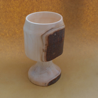 Hand turned chalice shaped goblet - Maple ? Natural inclusion
