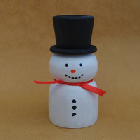 Painted, hand turned Snowman - Christmas decoration from recycled timber
