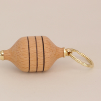 Barrel inspired keyring - beech timber with 3 burnt rings