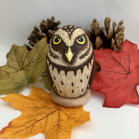 Little Owl decorated wooden egg