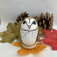 Barn owl decorated wooden egg