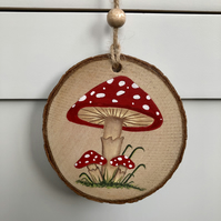 Toadstool hand painted wood slice hanging decoration