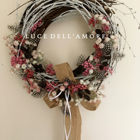 Spring wreath with birch and dried flower detail