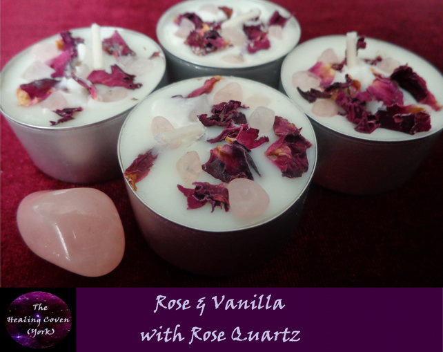 Rose & Vanilla Tealight Candles - with Soy Wax, Rose Petals & Rose Quartz chips