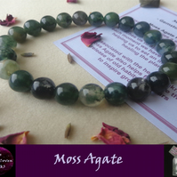 Moss Agate Stretch Bracelet - Grade A 8mm Natural Gemstone Beads - Unisex x