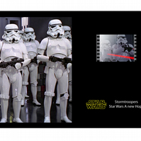 A rare Star Wars Stormtrooper film cell display