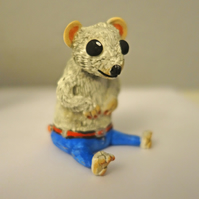 Little Jeremy Mouse in his new jeans hand made figurine