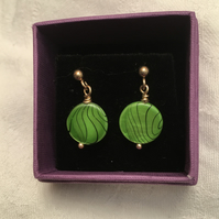Green Shell Dangle Earrings.