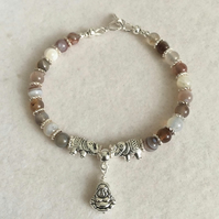 Botswana Agate Bracelet with Buddha and Elephant Charms.