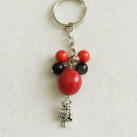 Gemstone Owl Charm Keyring or Bag Charm.