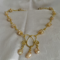 Unique Gold Wire-work Keshi Pearl Necklace.
