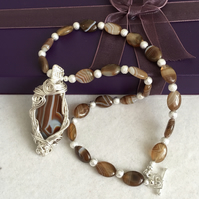 One of A Kind Botswana Agate Statement Necklace with Wire Weave Focal Piece.