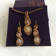 Unique Carnelian Pendant & Earrings Wire Wrapped Set.  Great Gift.