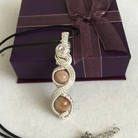 Stunning Sunstone Wire Wrapped Pendant, Unique Gift, Boho Jewellery.