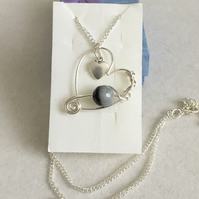 Wire Work Heart Pendant with Quartz Agate. Great Gift for A Loved One.