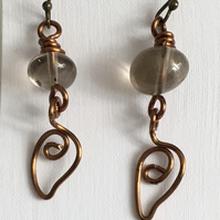 Smokey Quartz Wire Leaf Drop Earrings, Unique Gift, Wire Work Earrings.