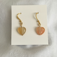 Carnelian Heart Drop Earrings, Great Valentine Gift, Stunning Earrings.