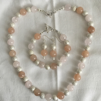 Peaches & Cream Chunky Jewellery Set, Great Gift, Summer Jewellery.
