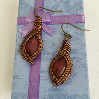 Stunning Wire Wrapped Quartz Drop Earrings, Unique Earrings.