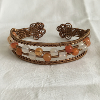 Bronze Wire Wrapped Bangle, Cuff Bracelet, Carnelian Bangle, Unique Gift Idea.