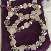 Chunky Stretch Bracelets, Gemstone Bracelets, Rose Quartz Stretch Bracelets.