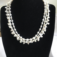 Multi Stranded Pearl Necklace, Sterling Silver Necklace, Baroque & Keshi Pearls