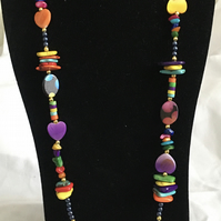 Long Bright Colour Necklace, Rainbow Necklace, Long Necklace.