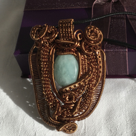 Unique Amazonite Wire Wrapped Pendant, Wire Work Pendant, Bronze Wire Work.