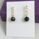 Stunning Obsidian Drop Earrings, Dainty Earrings, Golden Obsidian Stud Earrings.