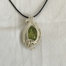 Quartz Wire Wrapped Pendant, Crackled Green Quartz Pendant.