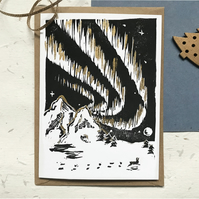 Pack of Northern Lights Hare Christmas Cards - Handmade Original Lino Prints