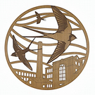 Swallows flying above Eckersley Mill, Wigan - Engraved wood wall art