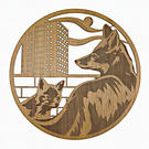 Fox and fox cub near high rise - Engraved wood wall art