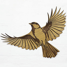Great Tit in flight - Engraved wooden wall art