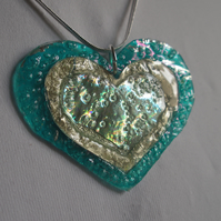Super size three layer heart pendant.