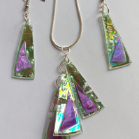 Matched set of earrings and pendant.