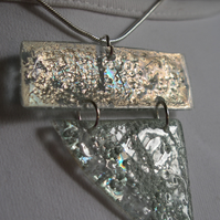Two piece pendant. Silver and sea green.