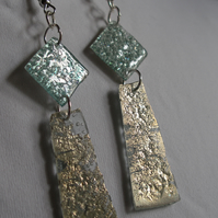 Sea green and silver drop earrings.