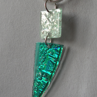 Metallic turquoise and pale green pendant.