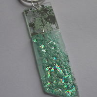 Pale turquoise and green two piece pendant.