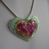 Colourful reflective heart pendant