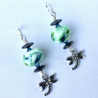Lampwork dragonfly earrings