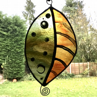 Stained glass leaf suncatcher