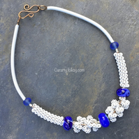 "Blue and white ""Seafoam"" necklace"