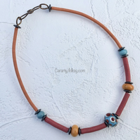 Turquoise,orange and coral necklace