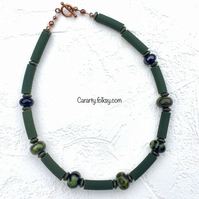 Olive green lampwork necklace