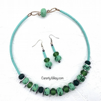 Green lampwork necklace and earrings